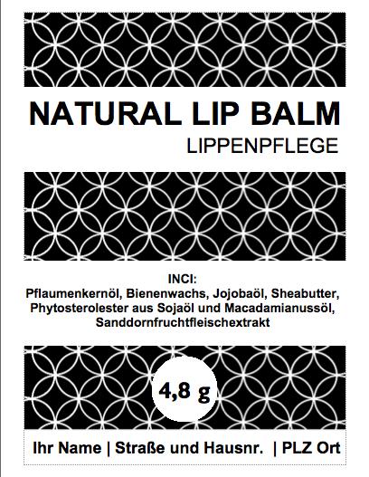 Vorschau des Etiketts für den natürlichen Lippenbalsam mit Pflaumenkernöl und Sanddornfruchtfleischöl (© Heike Käser 2018)