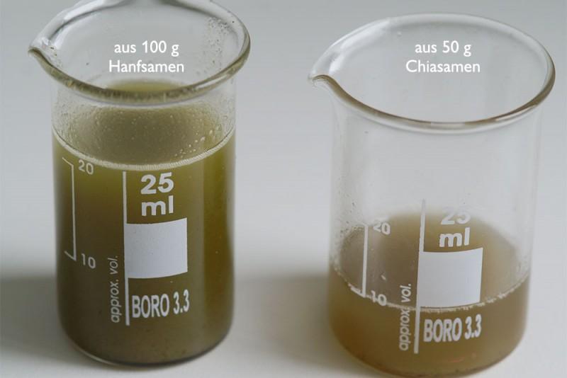 Frisch gepresstes Truböl aus Hanfsamen und Chiasamen.